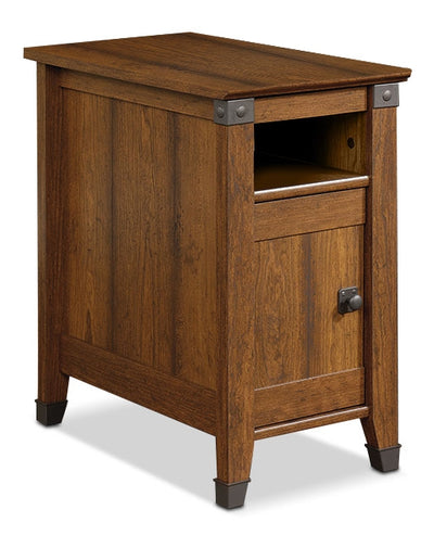 Carson Forge End Table – Washington Cherry - Rustic style End Table in Washington Cherry Engineered Wood and Laminate Veneers