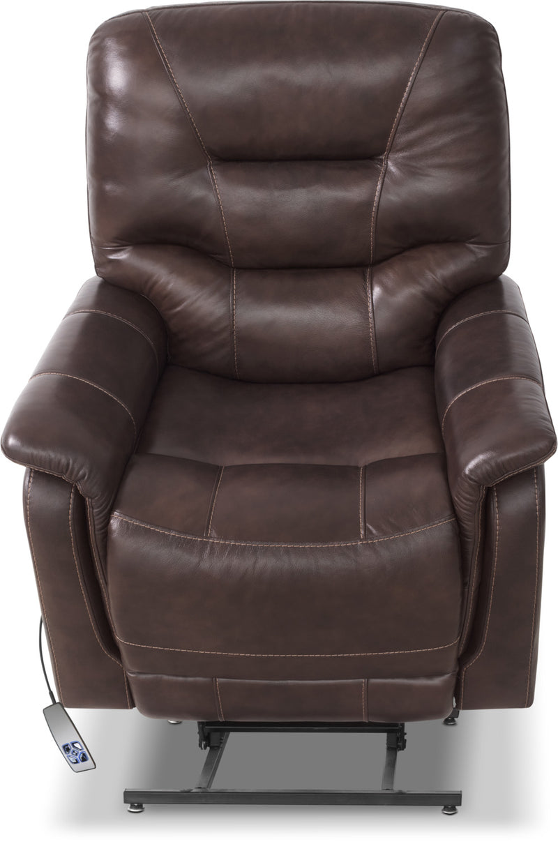 Parker Genuine Leather Power Lifting Recliner Brown