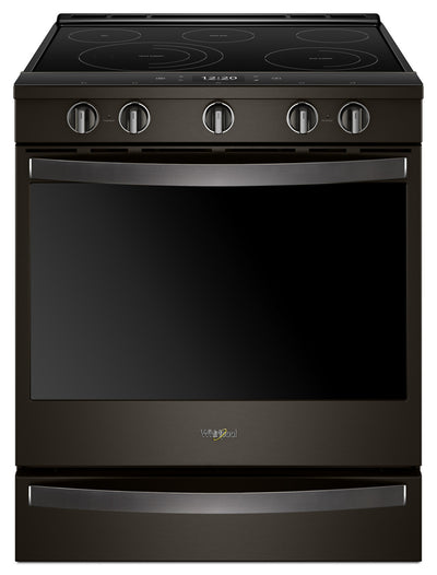 Whirlpool 6.4 Cu. Ft. Smart Slide-in Electric Range with Frozen Bake™ Technology - YWEE750H0HV - Electric Range in Black Stainless Steel