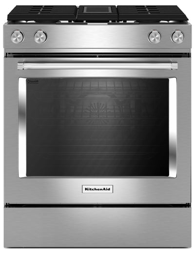 KitchenAid 6.4 Cu. Ft. 4-Burner Dual Fuel Downdraft Front Control Range - KSDG950ESS - Dual Fuel Range in Stainless Steel