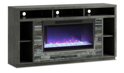 "Arlington 70"" TV Stand with Glass Ember Firebox – Anthracite
