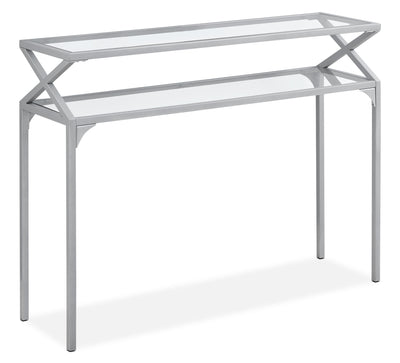 Vada Console Table - Modern style Hall Table in Silver Glass and Metal