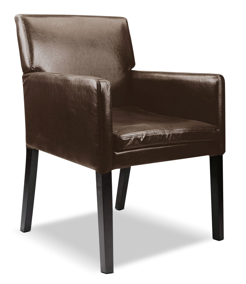 LAD Bonded Leather Accent Chair – Dark Brown|Fauteuil d'appoint LAD en cuir contrecollé – brun foncé
