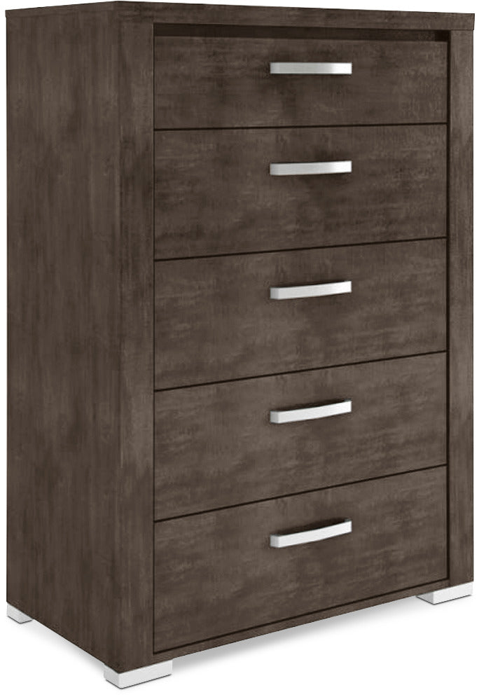 Monaco 5-Drawer Chest – Anthracite Grey|Commode verticale à 5 tiroirs Monaco - anthracite