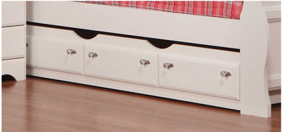 Diamond Dreams Trundle - Traditional style Bed in White