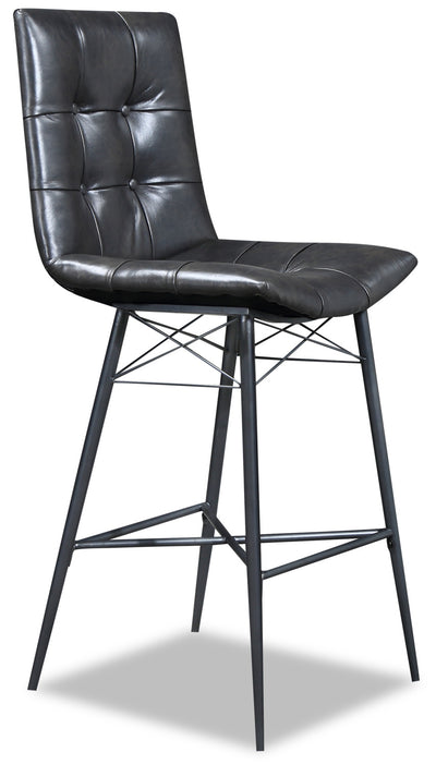 Avis Bar Stool - {Industrial} style Dining Chair in Grey-Black {Metal}