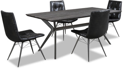 Avis 5-Piece Dining Package - {Industrial} style Dining Room Set in Grey-Black {Metal}