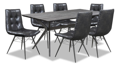 Avis 7-Piece Dining Package - {Industrial} style Dining Room Set in Grey-Black {Metal}