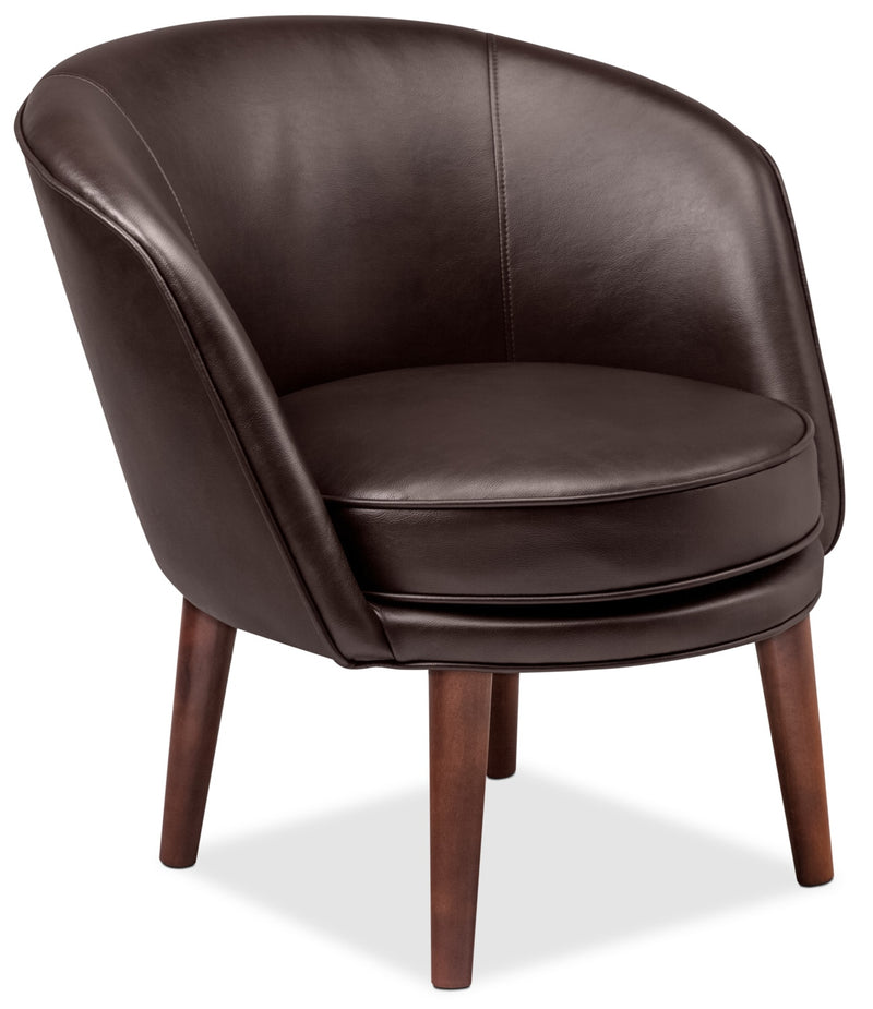 Franz Leather-Look Fabric Accent Chair – Brown|Fauteuil d'appoint Franz en tissu d'apparence cuir - brun