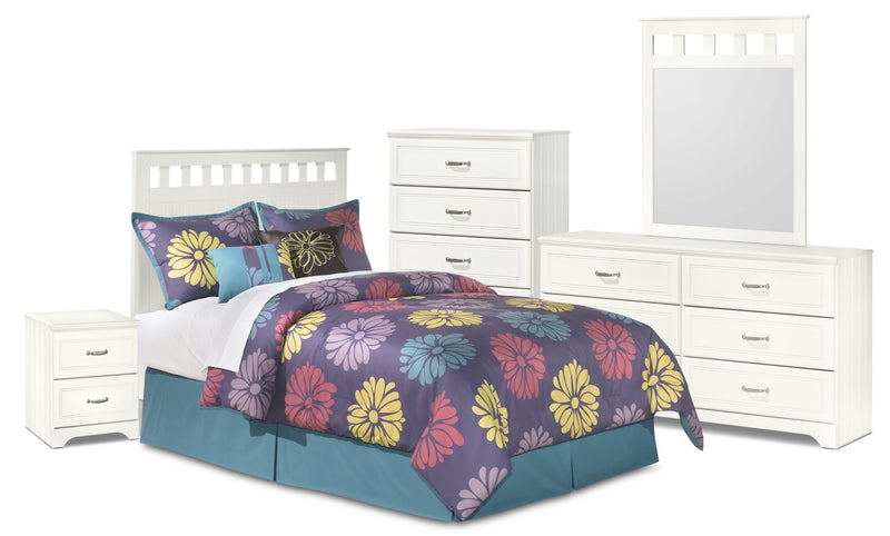 Lulu 5-Piece Full Panel Headboard Package - Country style Bedroom Package in White