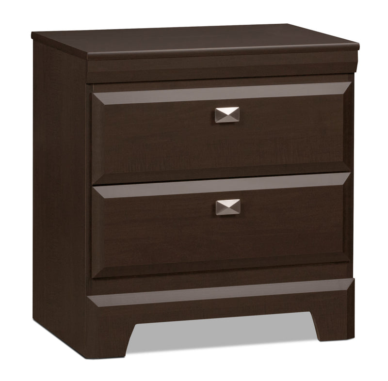 Yorkdale Nightstand - Contemporary style Nightstand in Dark Brown Engineered Wood and Laminate Veneers