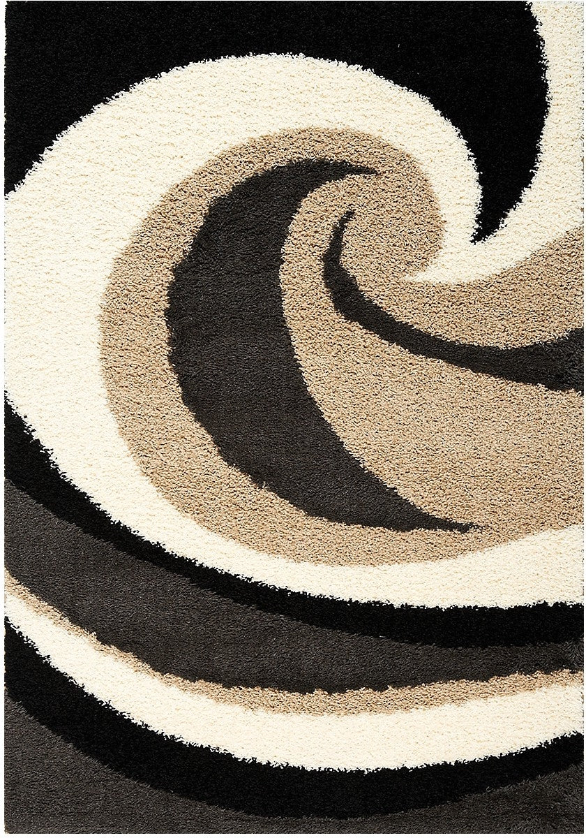 Shaggy Black Brown And Beige Area Rug 5 X 8 The Brick