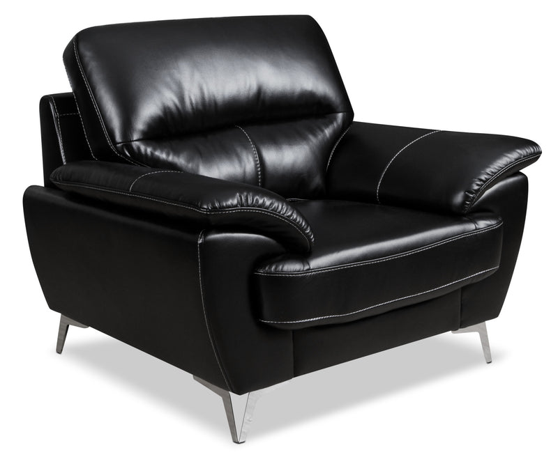 Olivia Leather-Look Fabric Chair – Black|Fauteuil Olivia en tissu d'apparence cuir - noir