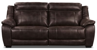 Novo Leather-Look Fabric Power Reclining Sofa – Brown - Modern style Sofa in Brown