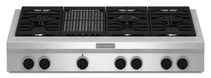 "KitchenAid 48"" Commercial-Style Gas Cooktop with Grill – KGCU482VSS
