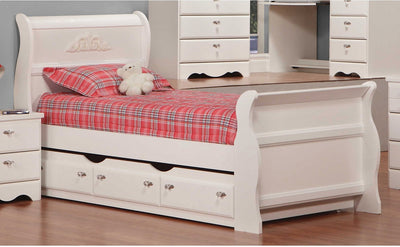 Diamond Dreams Twin Sleigh Bed w/Trundle - Traditional style Bed in White