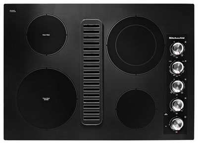 "KitchenAid 30"" Electric Downdraft Cooktop – KCED600GBL - Electric Cooktop in Black"