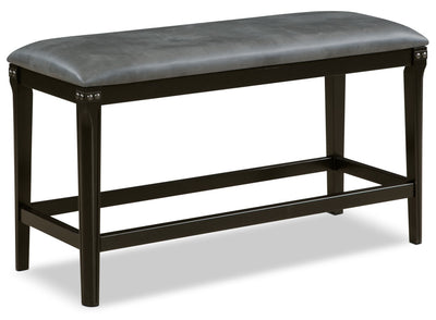 Ironworks Counter-Height Dining Bench - Industrial style Dining Bench in Grey Rubberwood Solids and Metal