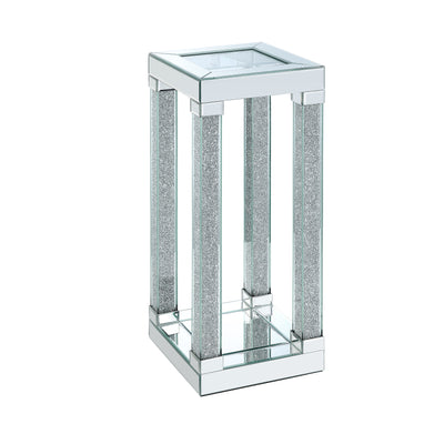 Berni Chairside Table  - Glam style End Table in Silver