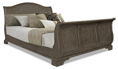 Carmen King Sleigh Bed – Grey - Traditional style Bed in Grey Poplar Solid and Birch Veneers