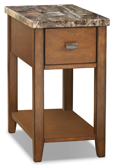 Sydney Accent Table - Faux Marble - Contemporary style End Table in Birch Wood