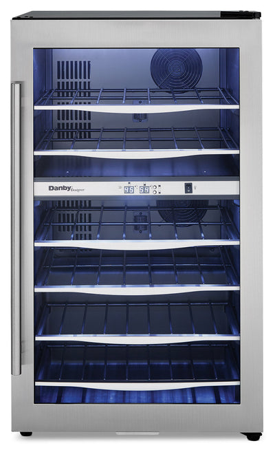 Danby Designer 4.0 Cu. Ft. 38-Bottle Wine Cooler – DWC040A3BSSDD - Refrigerator in Stainless Steel/Black