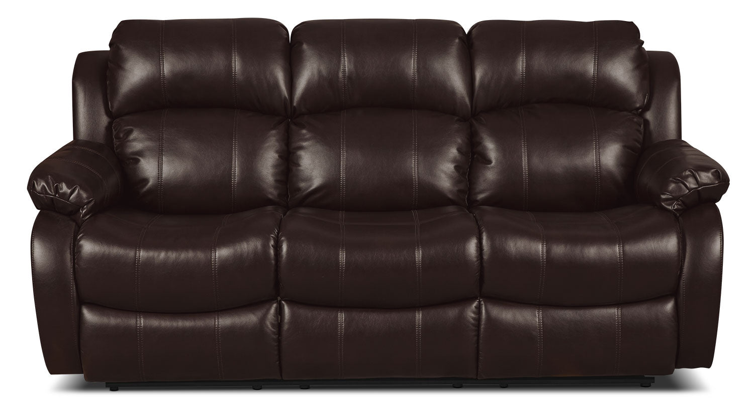 Omega leather look fabric reclining sofa brownsofa inclinable omega en tissu dapparence cuir brun