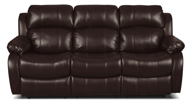 Omega Leather-Look Fabric Reclining Sofa – Brown|Sofa inclinable Omega en tissu d'apparence cuir – brun