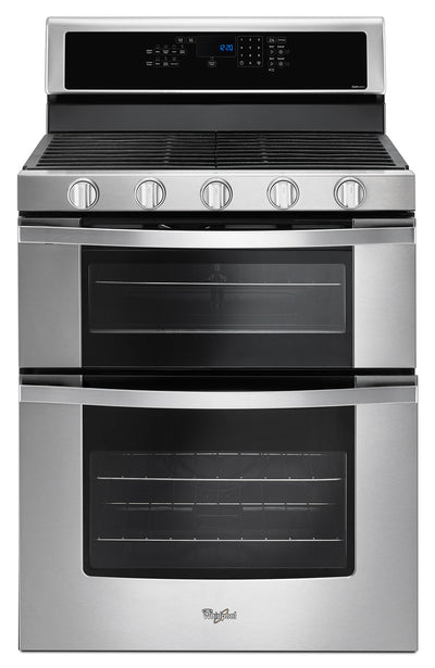 Whirlpool® 6.0 Cu. Ft. Gas Double Oven Range with EZ-2-Lift™ Hinged Grates - Gas Range in Stainless Steel/Black