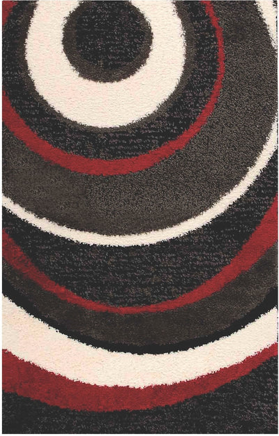 Shaggy Black, Charcoal, Red and Cream Area Rug – 5' x 8'|Carpette à poil long noire, anthracite, rouge et crème - 5 pi x 8 pi|SHAG336