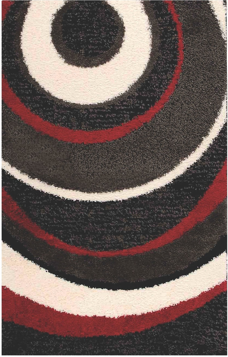 Shaggy Black, Charcoal, Red and Cream Area Rug – 5' x 8'|Carpette à poil long noire, anthracite, rouge et crème - 5 pi x 8 pi