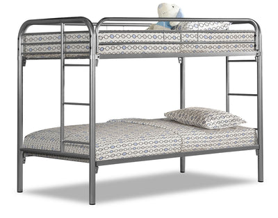 Monarch Twin Bunk Bed – Silver - Contemporary style Bunk Bed in Silver Metal