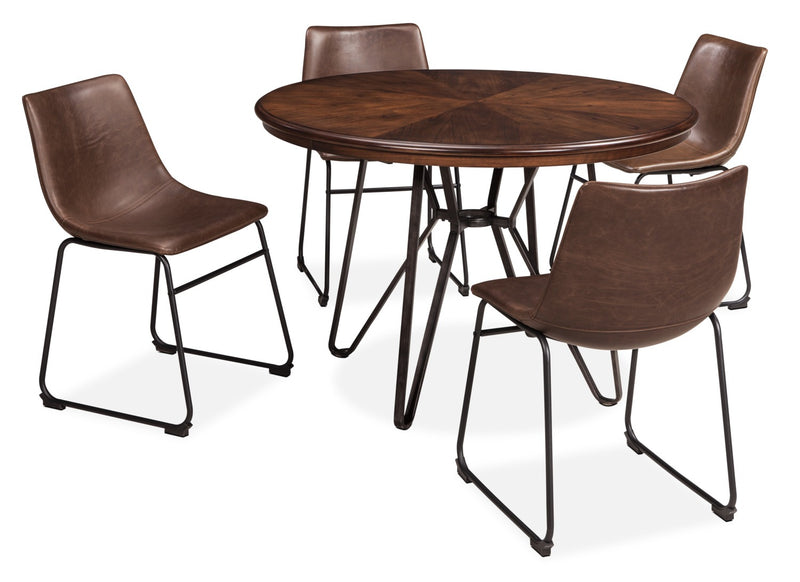 Centiar 5-Piece Dining Package - Industrial style Dining Room Set in Medium Brown Engineered Wood and Metal