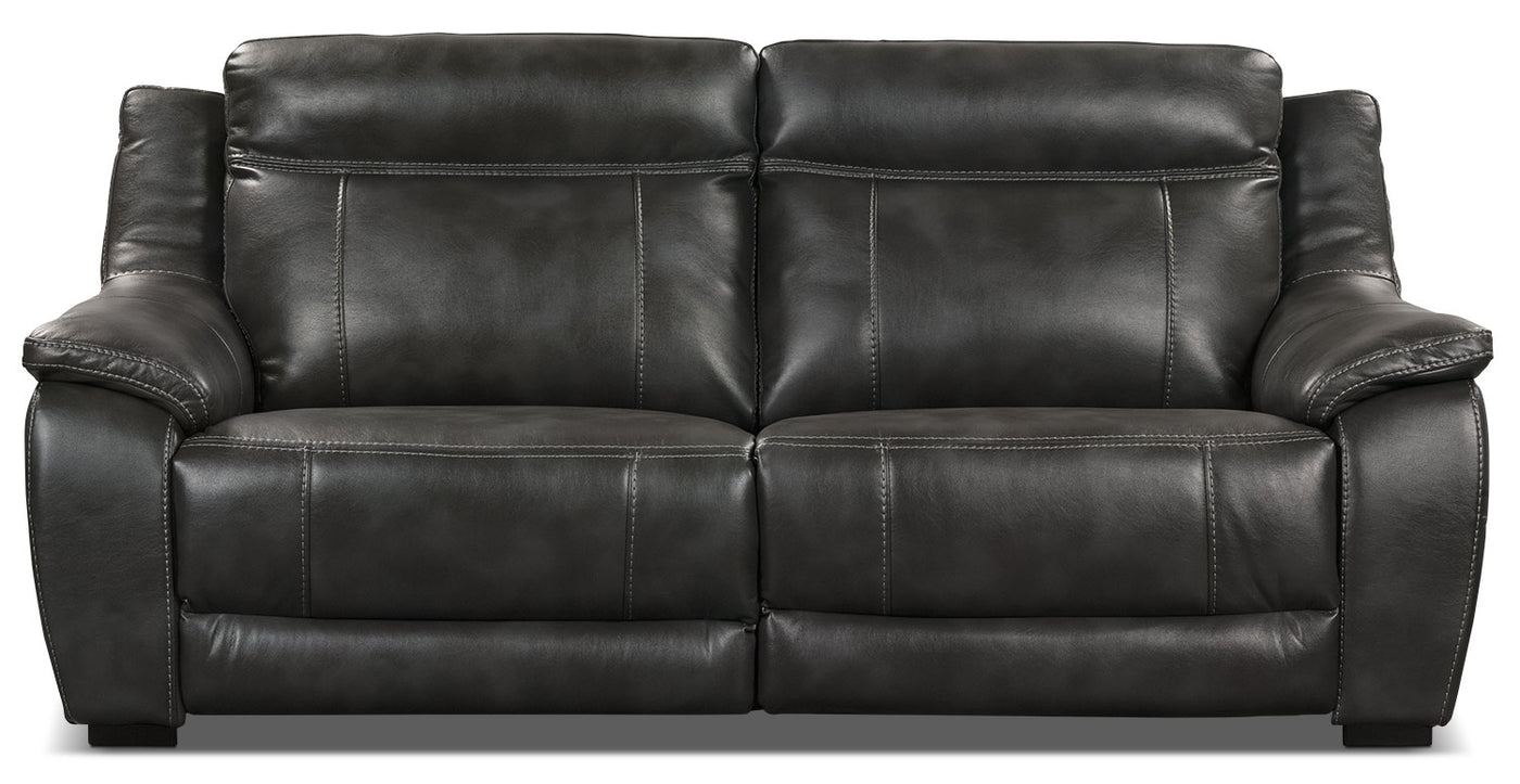 Enjoyable Novo Leather Look Fabric Power Reclining Sofa Grey Creativecarmelina Interior Chair Design Creativecarmelinacom
