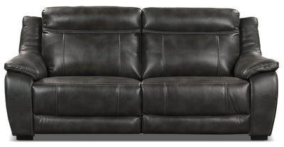 Novo Leather-Look Fabric Power Reclining Sofa – Grey|Sofa à inclinaison électrique Novo en tissu d'apparence cuir - gris|NOVOGYPS