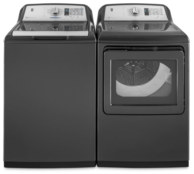 GE 5.3 Cu. Ft. Top-Load Washer and 7.4 Cu. Ft. Electric Dryer|Laveuse à chargement par le haut de 5,3 pi³ et sécheuse électrique de 7,4 pi³ de GE