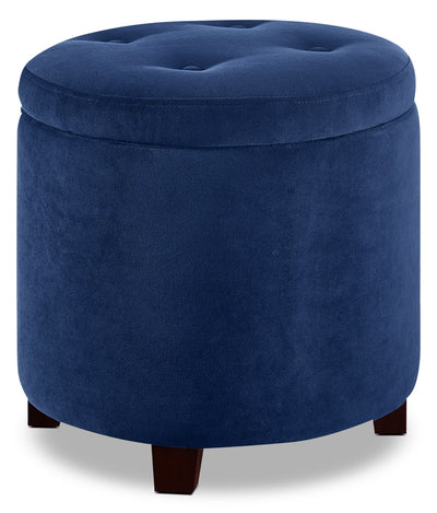 San Francisco Ottoman - Traditional style Ottoman in Blue Wood and Polyester