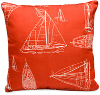 Red Boats Accent Pillow