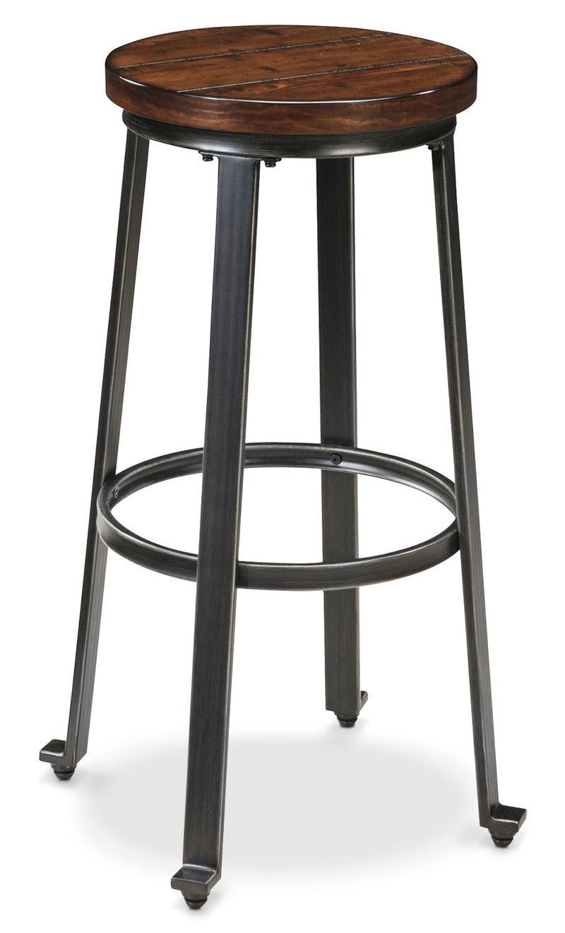 "Challiman 30"" Bar Stool - Industrial style Bar Stool in Pewter Metal and Hardwood Solids"