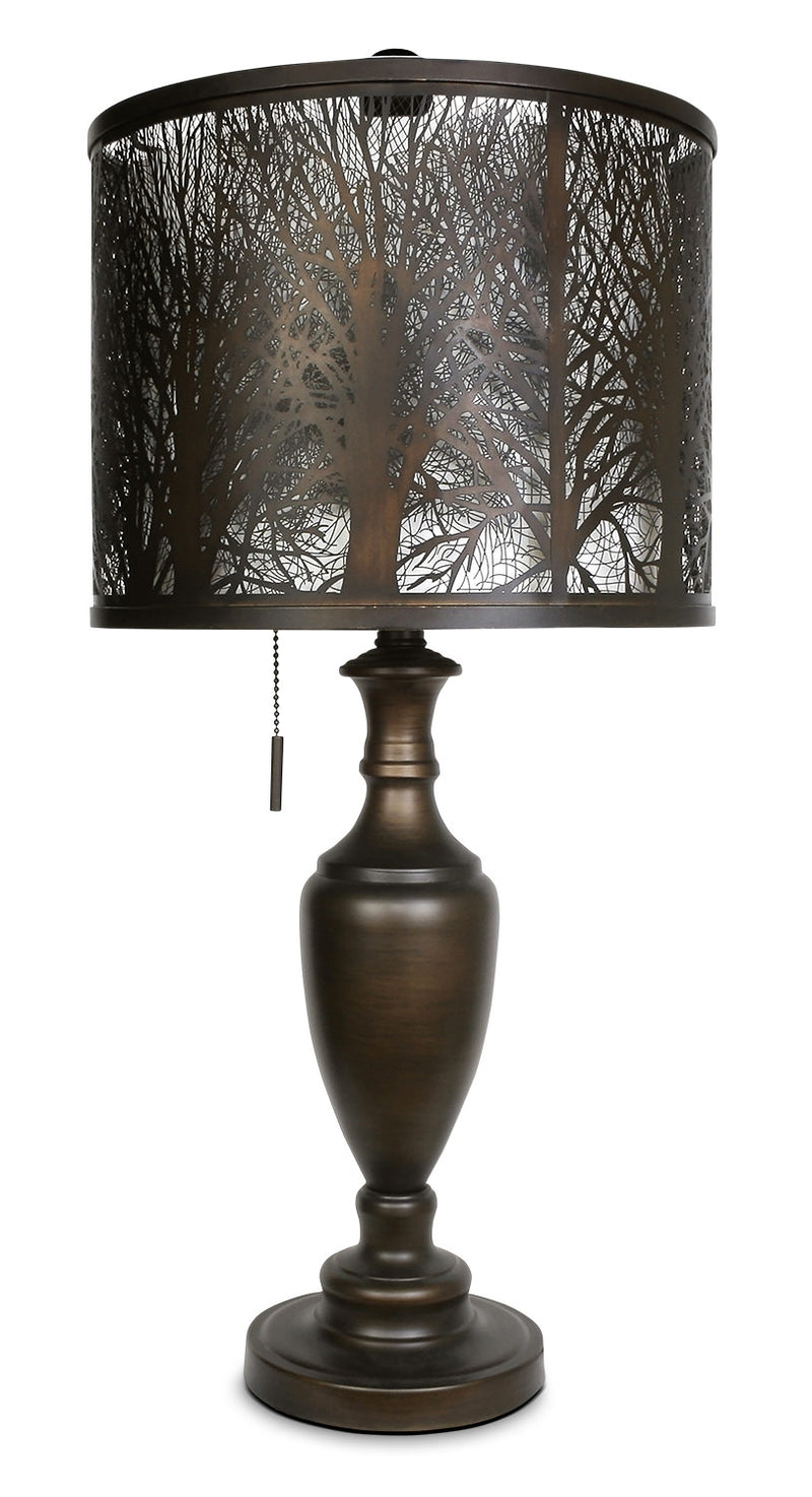 Bean Bronze Table Lamp with Cut-Out Shade|Lampe de table bronze haricot avec abat-jour orné de découpes|ST9038TL