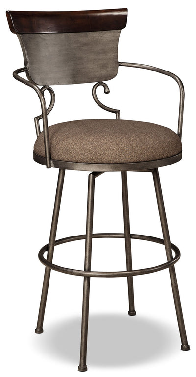 Moriann Metal Barstool - Dark Brown - Rustic style Bar Stool in Dark Brown Polyester and Faux Leather