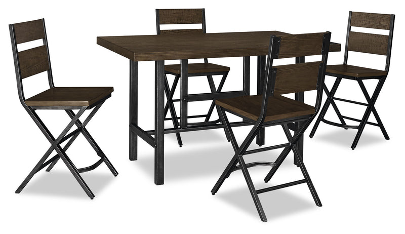 Kavara 5-Piece Counter-Height Dining Package - Industrial style Dining Room Set in Medium Brown Pine Solids and Metal