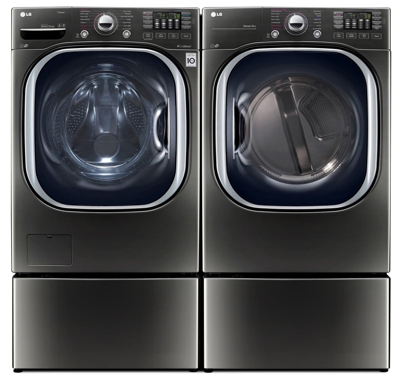 LG 5 2 Cu  Ft  TWIN Wash™ Front-Load Washer, 7 4 Cu  Ft  Electric Dryer,  Pedestal Washer and Storage Pedestal