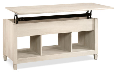 Edge Water Coffee Table with Lift Top – Chalked Chestnut - Contemporary style Coffee Table in White Wood