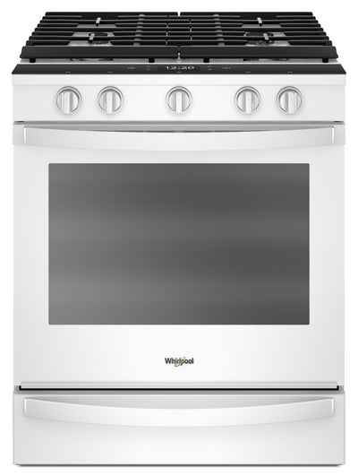 Whirlpool 5.8 Cu. Ft. Smart Slide-in Gas Range with EZ-2-Lift™ Hinged Cast-Iron Grates - WEG750H0HW - Gas Range in White