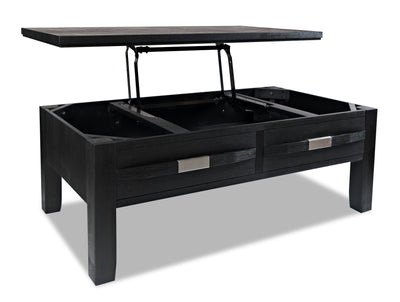 Bronx Coffee Table with Lift-Top - Dark Charcoal  | Table à café Bronx avec dessus relevable - anthracite foncé | BRONCCTB