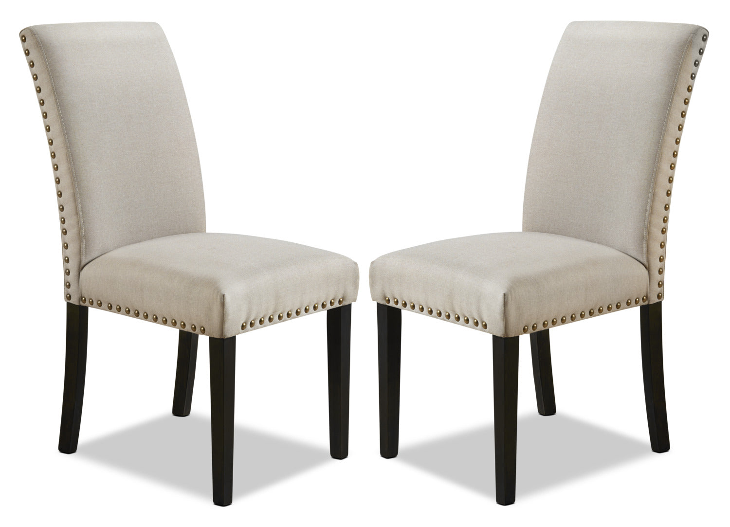york studded dining chair set of 2 beigechaise de salle manger york avec clous dcoratifs ensemble de 2 beige