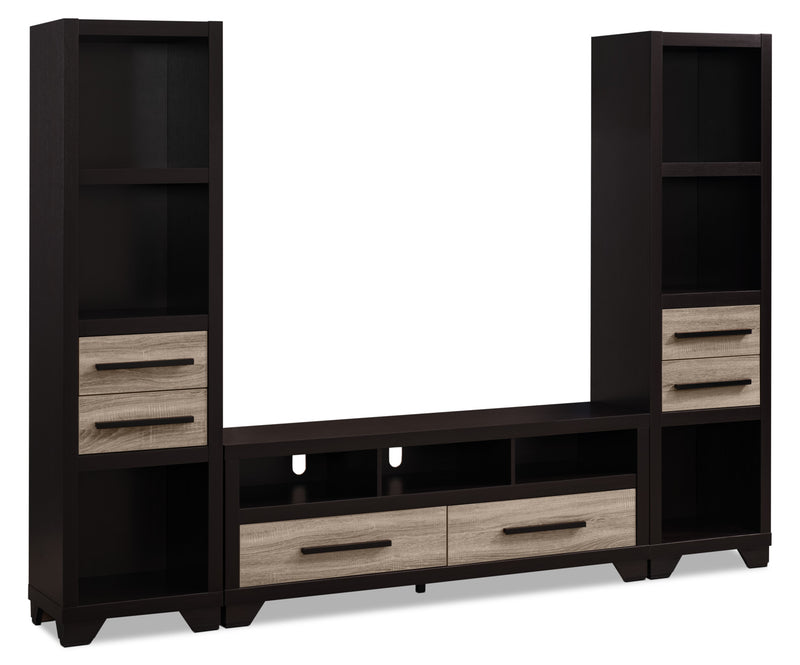 "Glendale 3-Piece Entertainment Centre with 60"" TV Opening – Rustic - Rustic style Wall Unit in Brown Wood"
