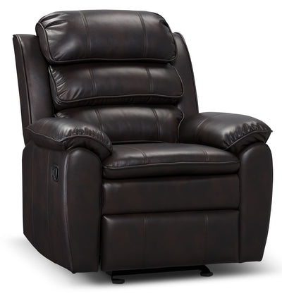 Adam Leather-Look Fabric Reclining Glider Chair – Brown - Contemporary style Chair in Brown