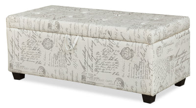 Amalia Ottoman with Shoe Storage – Taupe - Contemporary style Ottoman in Taupe Pine and Fabric